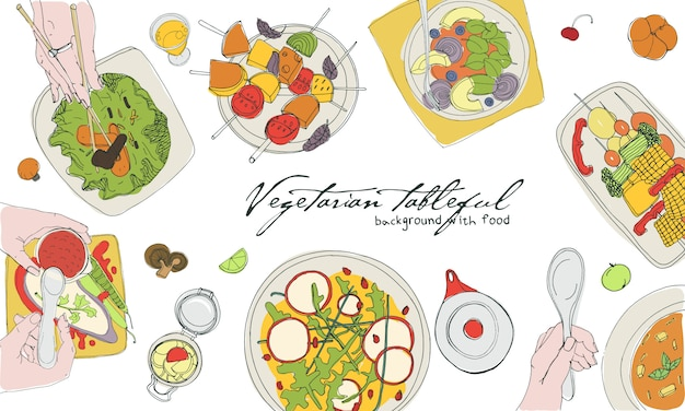 Mesa vegetariana festiva, mesa puesta, vacaciones ilustración colorida dibujada a mano, vista superior. fondo con lugar para el texto. Vector Premium