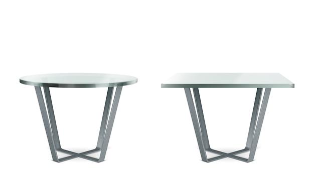 Mesas modernas con tapa de cristal redonda y cuadrada. conjunto realista de mesa de cóctel, café o comedor con patas cruzadas de metal y tapa de plexiglás transparente aislado sobre fondo blanco. vector gratuito