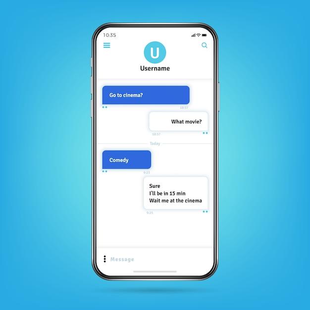 Messenger como whatsapp con marcos de burbujas para mensajes en la pantalla del teléfono inteligente Vector Premium