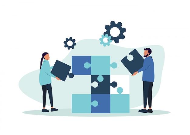 Metáfora del trabajo en equipo. concepto de negocio. dos hombres de negocios conectando elementos de rompecabezas. Vector Premium