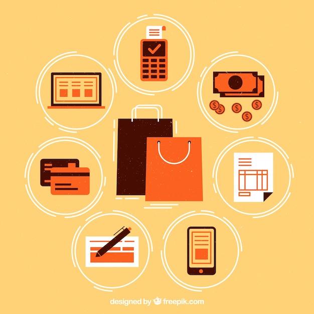 Métodos de pago con bolsas de compras vector gratuito