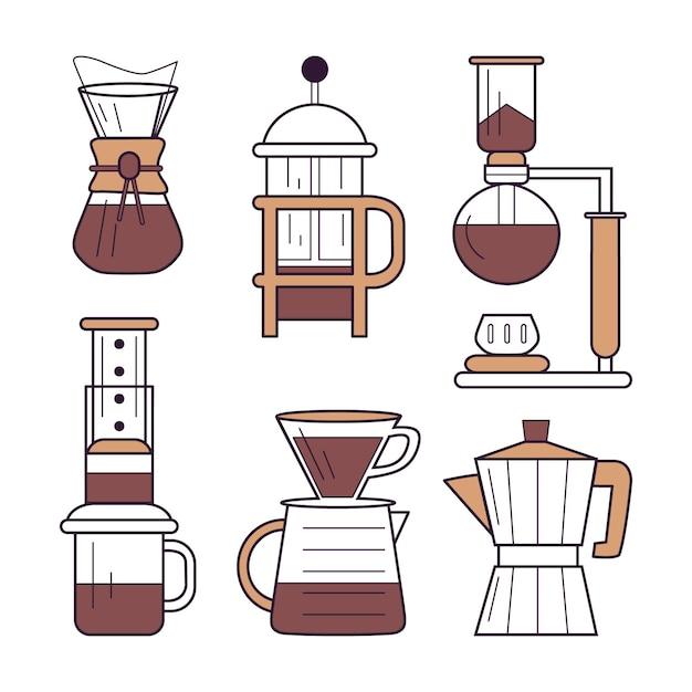 Métodos de preparación de café vector gratuito