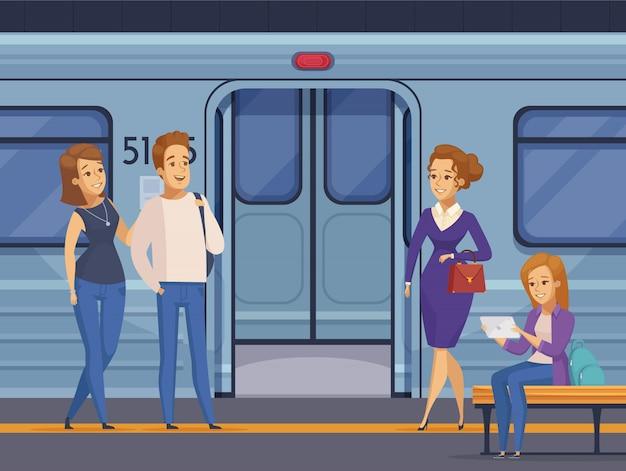 Metro estación subterránea pasajeros dibujos animados vector gratuito