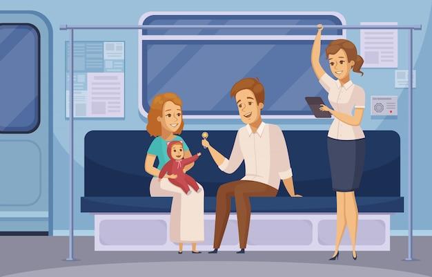 Metro metro metro pasajeros de dibujos animados vector gratuito