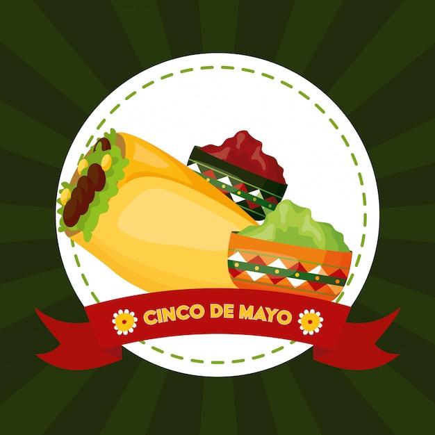 México cinco de mayo comida mexicana y salsas ilustración vector gratuito