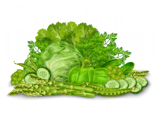 Mezcla de vegetales verdes sobre blanco vector gratuito