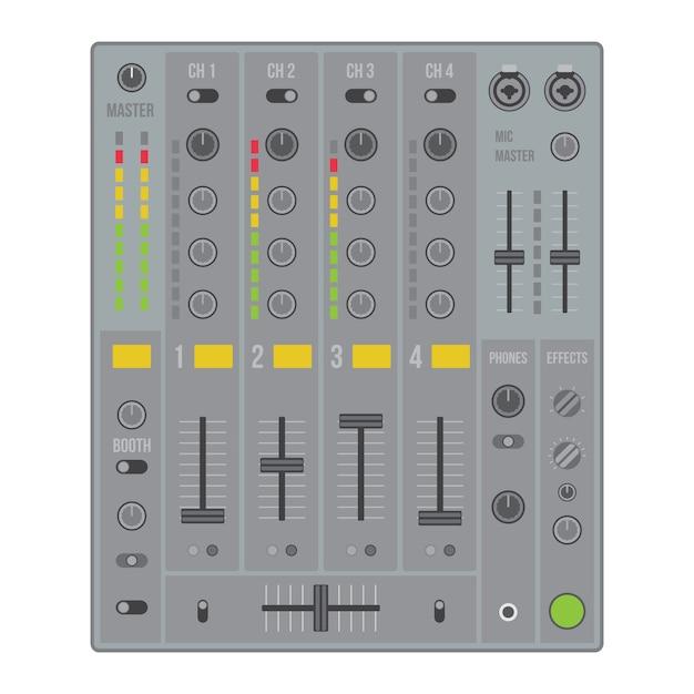 Mezclador de dj de sonido de diseño plano vectorial con botones y deslizadores Vector Premium