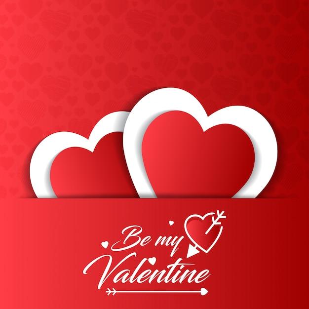 Sé mi tarjeta de san valentín con fondo rojo vector gratuito