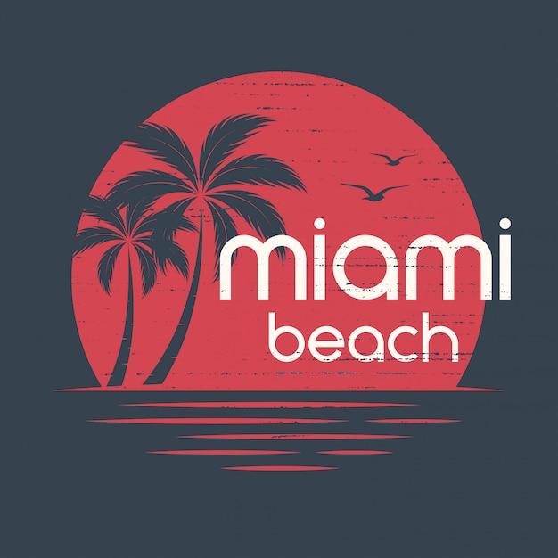 Miami puesta de sol. diseño de camisetas y prendas de vestir, estampado, tipografía Vector Premium