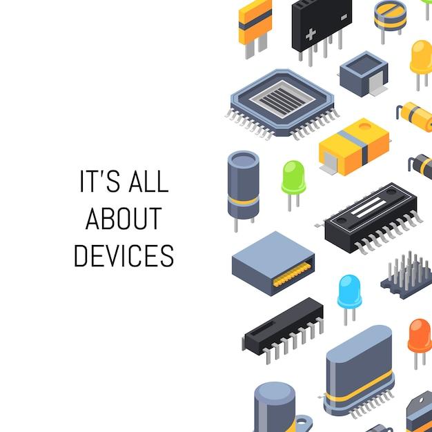Microchips isométricos e íconos de piezas electrónicas Vector Premium