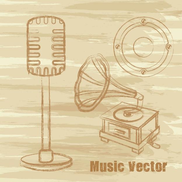 Micrófono antiguo gramófono y altavoz Vector Premium