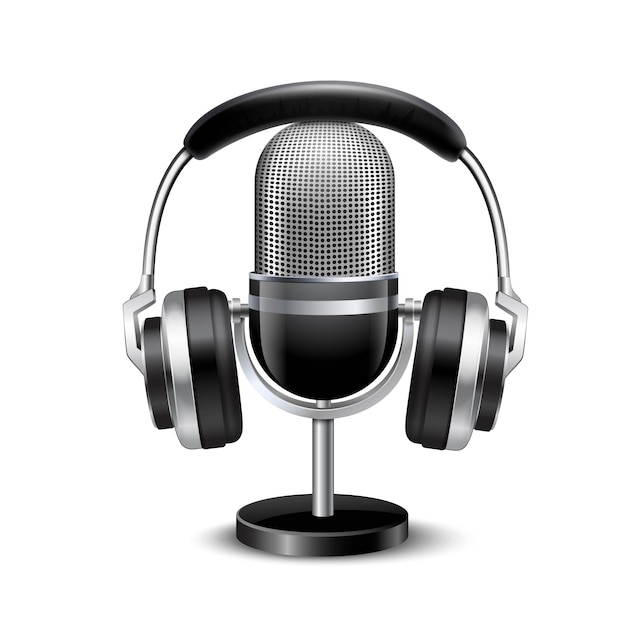 Micrófono y auriculares retro imagen realista vector gratuito