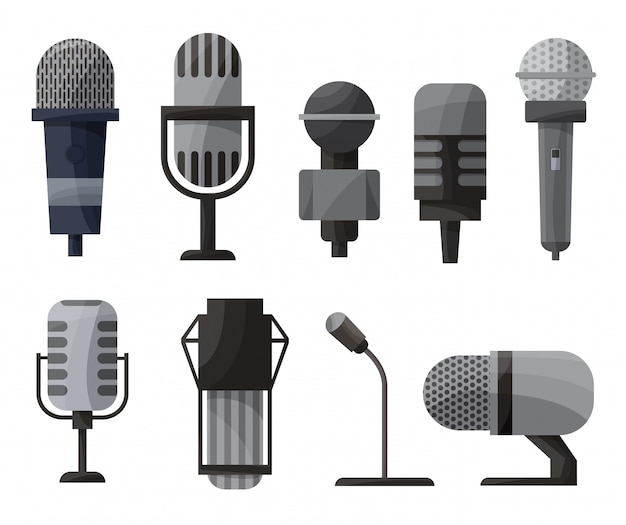 Micrófono en estilo de dibujos animados Vector Premium