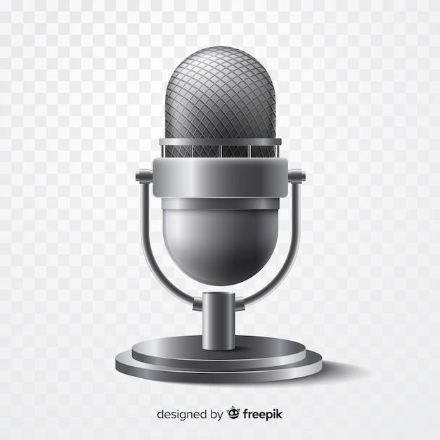 Micrófono metálico realista para cantar vector gratuito