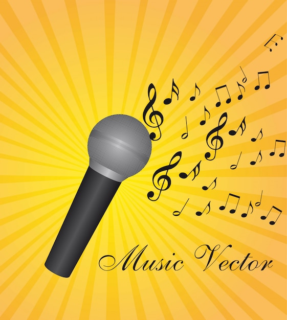 Micrófono con notas musicales sobre fondo amarillo ilustración vectorial Vector Premium