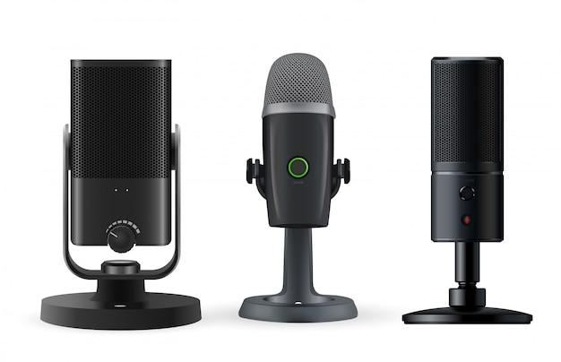 Micrófono de radio aislado sobre fondo blanco. Vector Premium