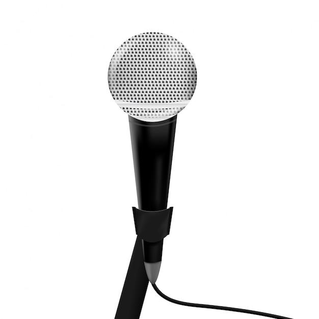 Micrófono realista sobre el fondo blanco. concepto de periodismo y entrevista. Vector Premium