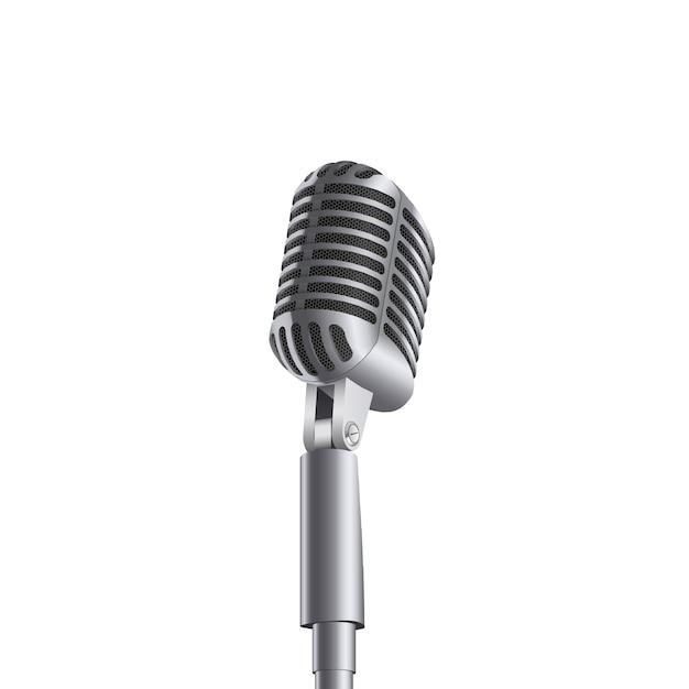 Micrófono retro de la música de concierto del vintage en soporte. Vector Premium