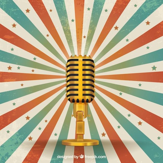 Micrófono retro de oro vector gratuito
