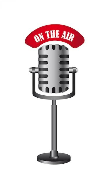 Micrófono viejo aislado en el aire Vector Premium
