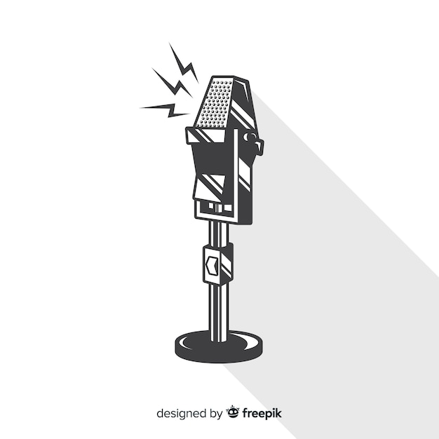 Micrófono vintage dibujado a mano vector gratuito