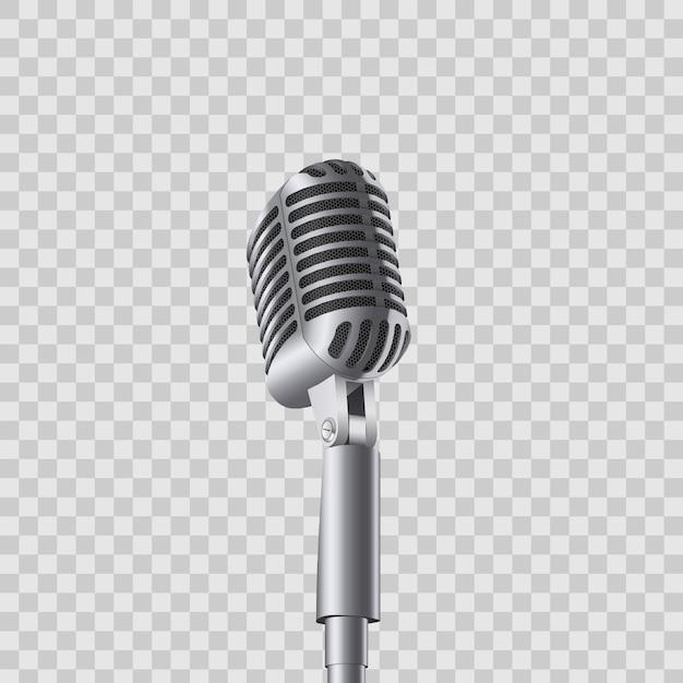 Micrófonos retros de la música de concierto del vintage en soporte. Vector Premium