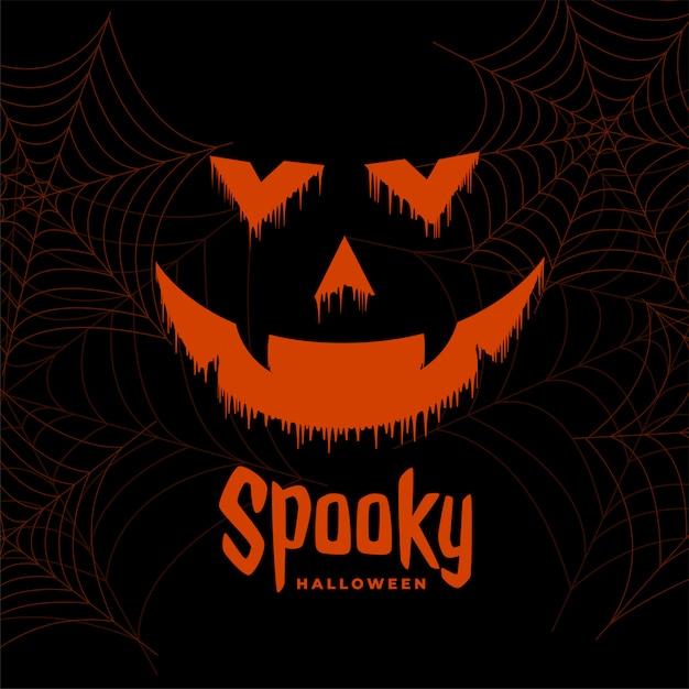 Miedo feliz halloween fantasma cara fondo vector gratuito