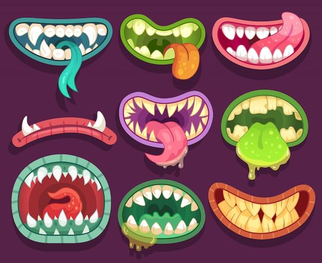 Miedosos monstruos bocas con dientes y lengua. elementos de halloween Vector Premium