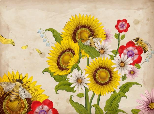 Miel de abejas y flores silvestres, elementos de estilo de sombreado de grabado dibujado a mano retro, fondo colorido jardín floral Vector Premium