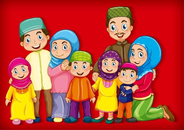 Miembro de la familia musulmana en personaje de dibujos animados vector gratuito