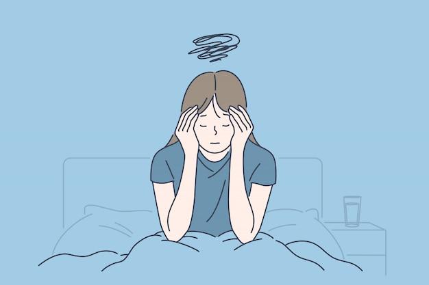 Migraña matutina, fatiga crónica y tensión nerviosa, síntomas de estrés o gripe, concepto difícil de despertar Vector Premium