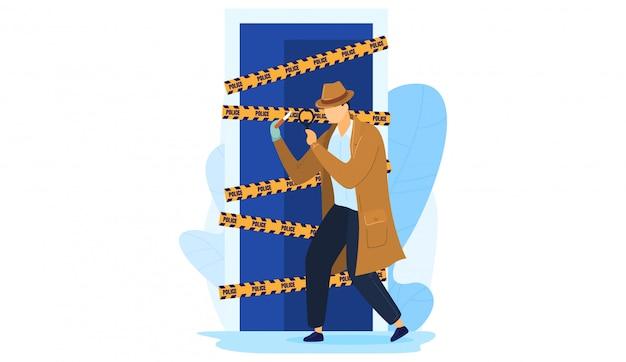 Milicia de trabajo de detective personaje masculino, hombre mantenga lupa escena de crimen de investigación aislado en blanco, ilustración de dibujos animados. Vector Premium