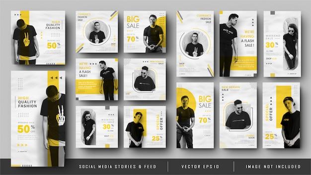 Minamlist historias amarillas de instagram y banner de publicación de feed de redes sociales Vector Premium