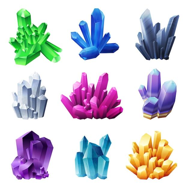 Minerales de cristal realistas sobre fondo blanco. vector gratuito