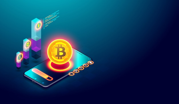Minería de bitcoin e inversión en el mercado monetario digital. Vector Premium