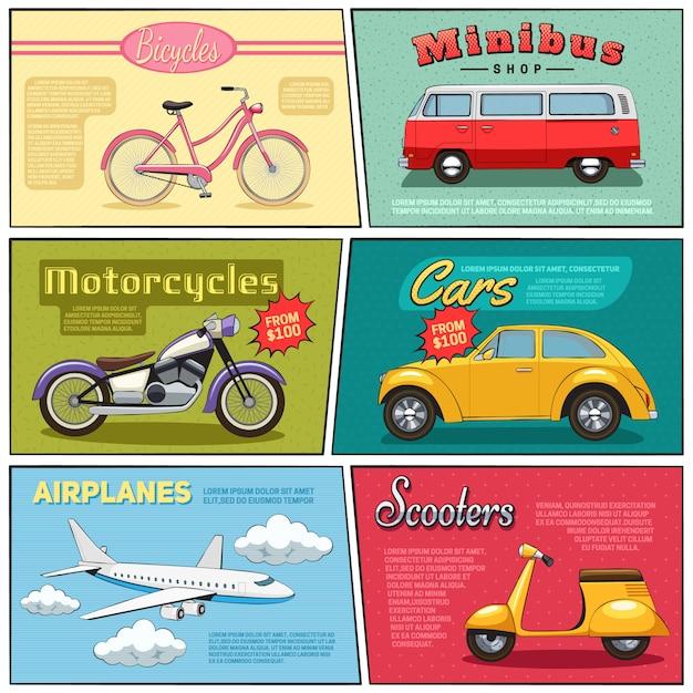 Mini carteles con dibujo de motocicleta, minibús, motocicleta, avión, avión y dibujo en estilo cómic plano vector gratuito