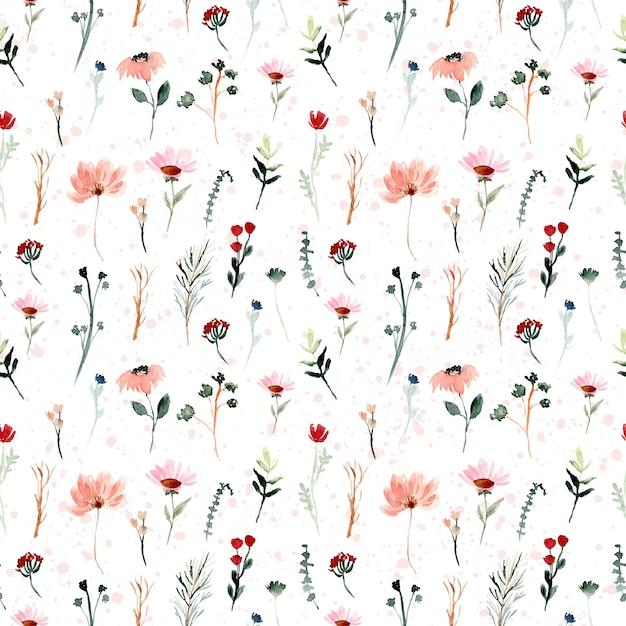 Mini patrón sin costuras acuarela floral salvaje Vector Premium
