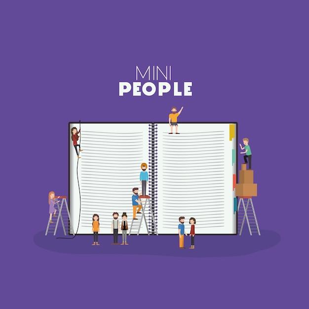 Mini personas con libro   Descargar Vectores Premium