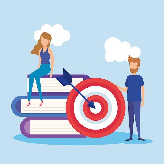 Mini personas con target y libros vector gratuito
