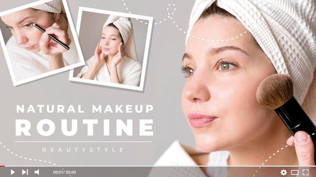 Miniatura de rutina de maquillaje natural vector gratuito