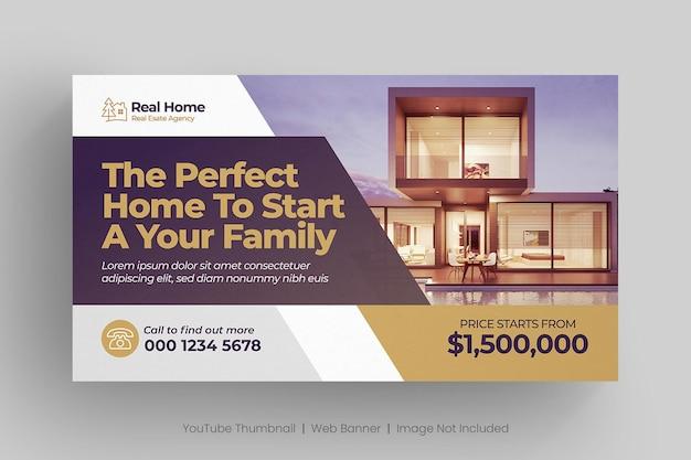 Miniatura de youtube de bienes raíces o plantilla de banner web Vector Premium