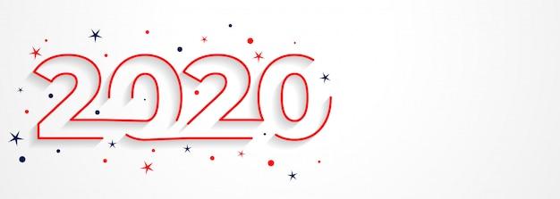 Minimal 2020 line style new year tipografía vector gratuito