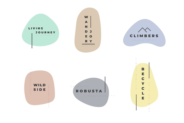 Minimal logo set plantilla con colores pastel vector gratuito