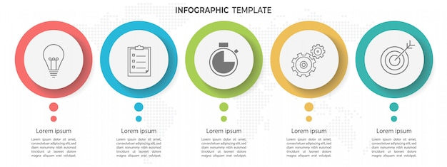 Minimal timeline circle infographic template 5 opciones o pasos. Vector Premium