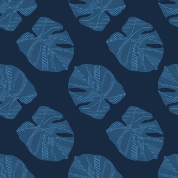 Minimalista oscuro monstera siluetas de patrones sin fisuras doodle. follaje de palmeras en tonos azul marino Vector Premium