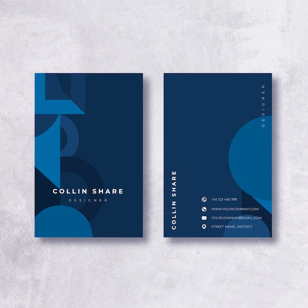 Minimalista plantilla de tarjeta de visita azul oscuro vector gratuito