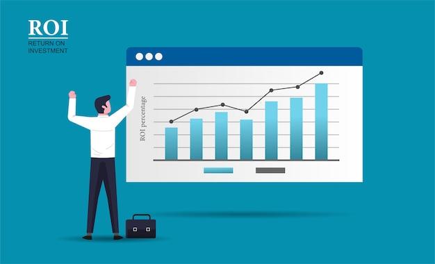 Mirada permanente del carácter alegre del hombre de negocios en la ilustración del negocio del gráfico de barras de crecimiento. diseño de concepto de retorno de la inversión. Vector Premium