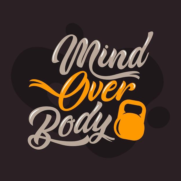 Mirar sobre las citas del cuerpo. refranes y citas de gimnasio Vector Premium