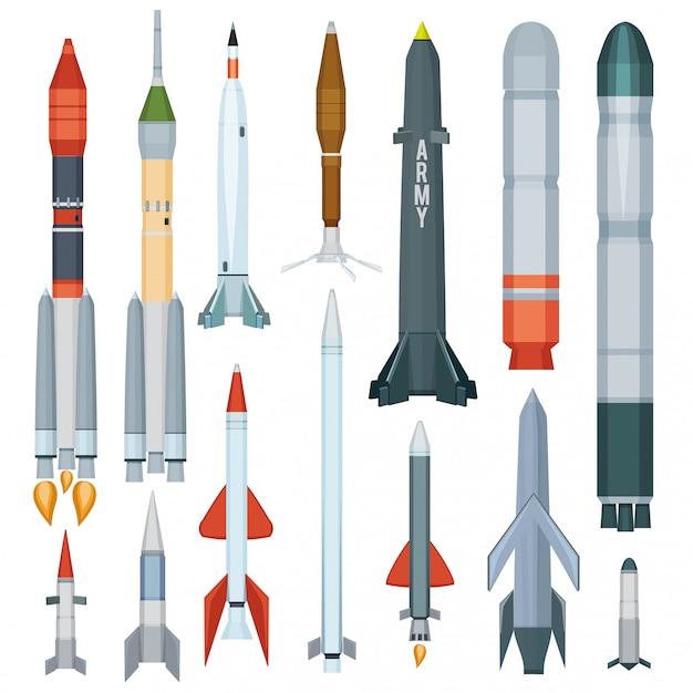 Misil del ejército. armadura de vuelo hélice cohete motor arma tecnología militar colección de guerra Vector Premium