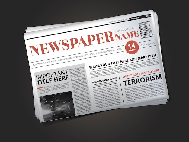La mitad de la plantilla de periódico con título. ilustración de impresión de periódico con columna de noticias Vector Premium